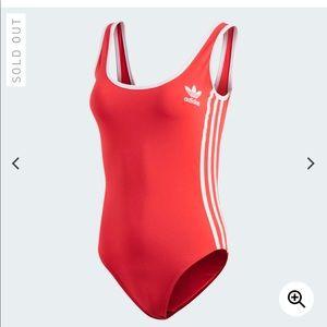 Red adidas 3 stripes bodysuit